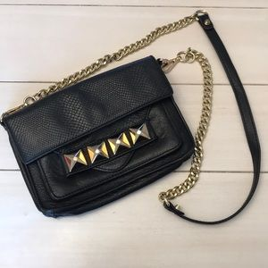 Linea Pelle Crossbody in Black Washed Leather
